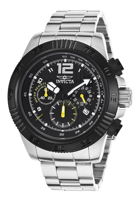 Invicta 15893 Men's Speedway Chrono Silver-Tone Steel Black Dial