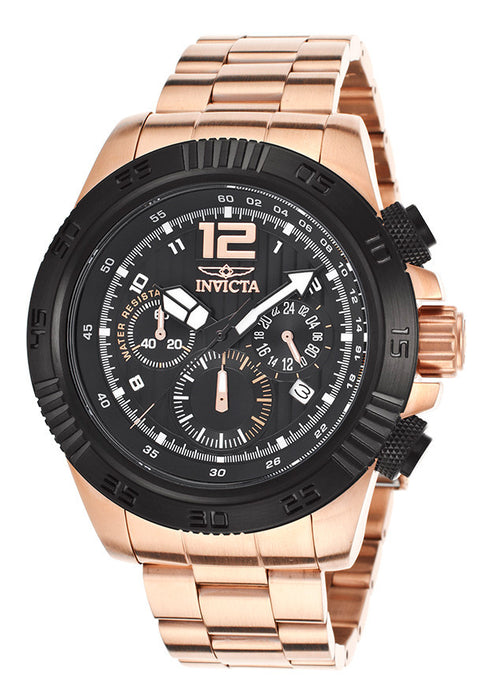 Invicta 15895 Men's Speedway Chrono 18K Rose Gold Plated Steel Black Dial