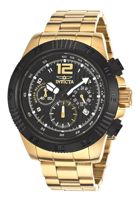 Invicta 15896 Men's Speedway Chronograph 18K Gold Plated Steel Black Dial