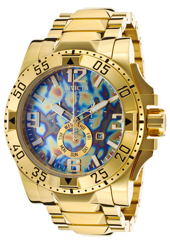 Invicta 15975 Men's Excursion Chrono 18K Gold Plated Steel Rainbow and Blue Dial