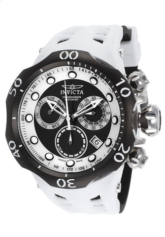 Invicta 16989 Men's Venom Chronograph Black & White Silicone Two-Tone Dial Black Bezel
