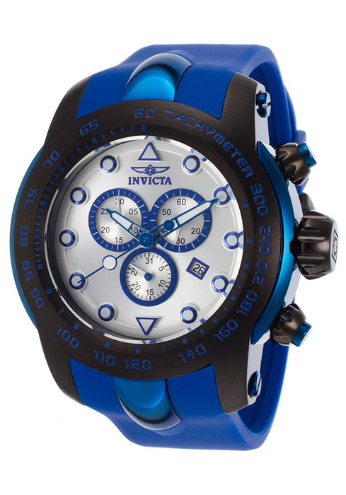Invicta Pro Diver Chronograph Silver Dial Blue Silicone Mens Watch 17809