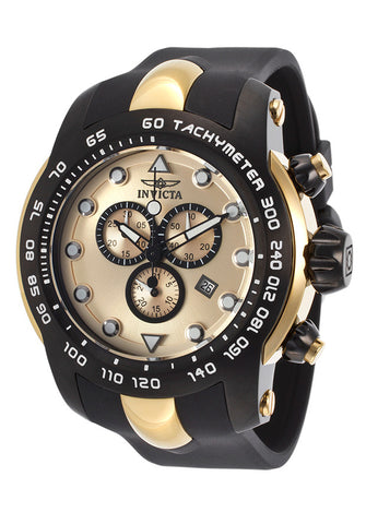 Invicta Pro Diver Chronograph Black Dial Gold Silicone Mens Watch 17811