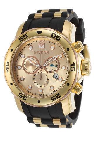 INVICTA 17884 GENTS BLACK POLYURETHANE 48MM STAINLESS STEEL CASE DATE WATCH