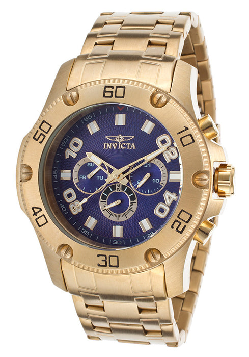 Invicta 19228 Men's Pro Diver Multi-Function 18K Gold Plated SS Blue Dial
