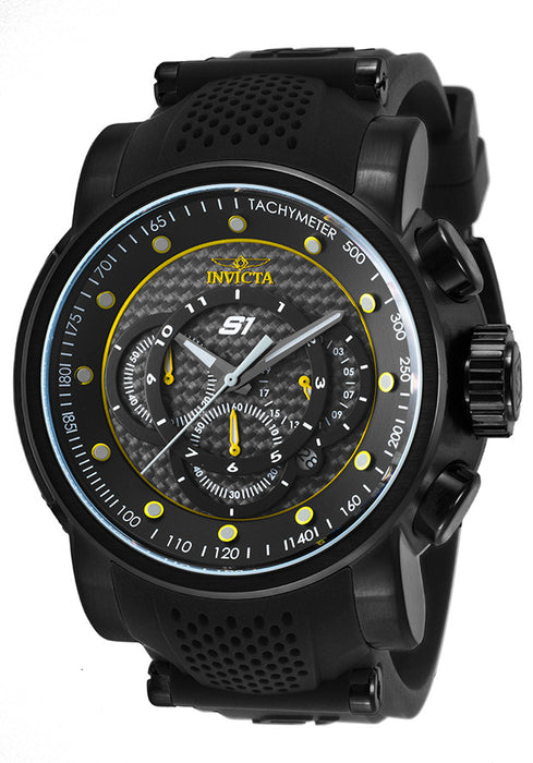 INVICTA 19324 Men's S1 Rally Chrono Black Silicone Grey and Yellow Carbon Fiber Dial
