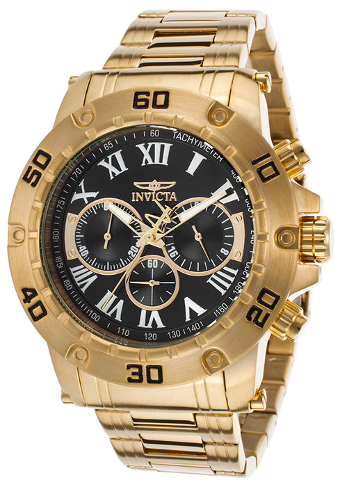 Invicta 19700 Men's Specialty Chrono 18k Gold-Plated SS Black Dial