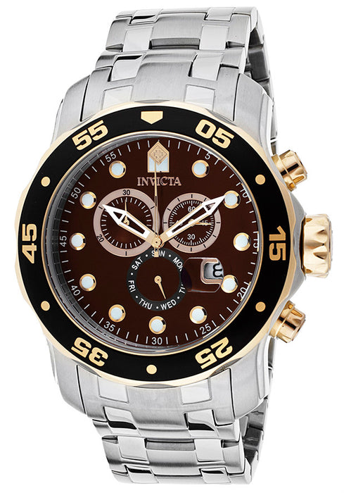 Invicta 80045 Men's Pro Diver Chronograph Brown Dial Stainless Steel