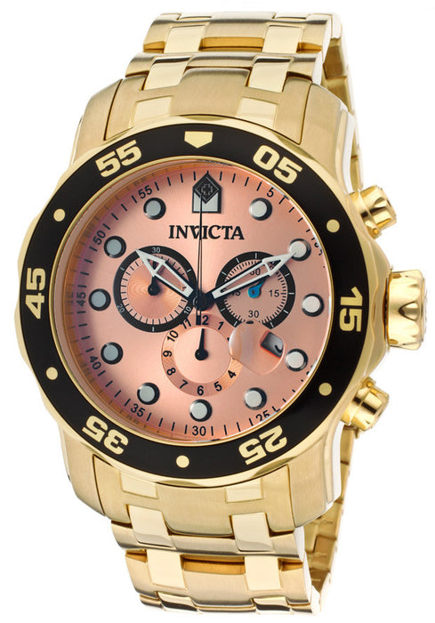 invicta 80063 Men's Pro Diver Chronograph Rose Gold Dial 18k Gold Plated Stainless Steel