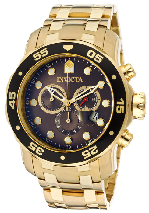 Invicta 80064 Men's Pro Diver Chronograph Black Dial 18k Gold Plated Stainless Steel