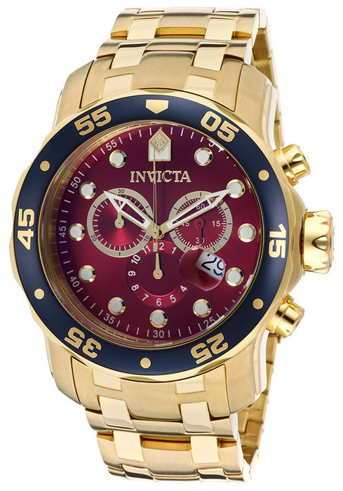 Invicta 80066 Men's Pro Diver Chronograph 18K Gold Plated Steel Burgundy Dial