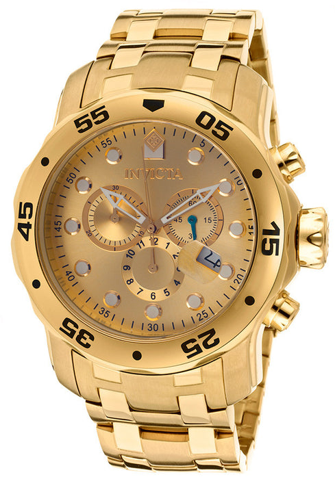 Invicta 80071 Pro Diver Chronograph Gold Plated Steel Bracelet Gold-Tone Dial