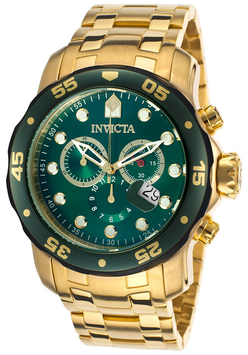 Invicta 80072 Men's Pro Diver Chronograph 18K Gold Plated Steel Green Dial