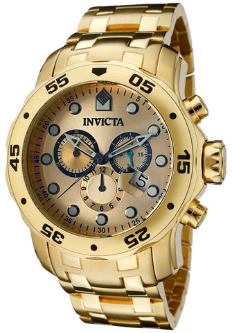 Invicta 0074 Men's Pro Diver Chronograph 18k Gold Plated Stainless Steel Watch