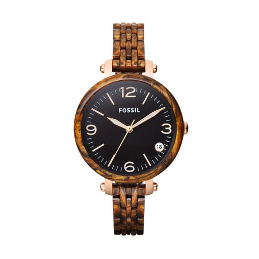 Fossil Heather Mid-Size Three Hand Resin Watch - Burlwood Jr1410