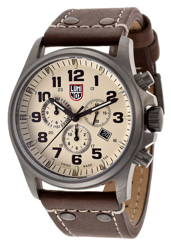 Luminox 1947 Men's Chronograph Beige Dial Brown Genuine Leather