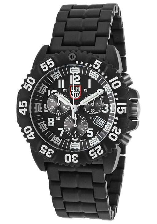 Luminox 3082 Men's Colormark Series 3080 Chrono Black Carbon Bracelet White Accents