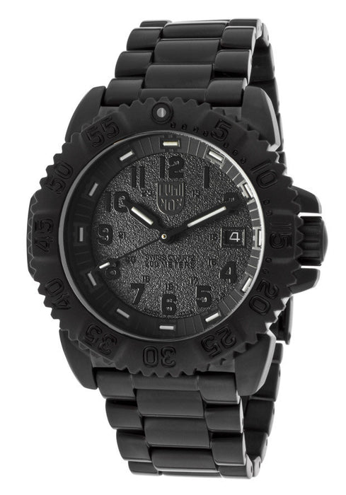Men's Black Textured Dial Black Ion Plated Stainless Steel