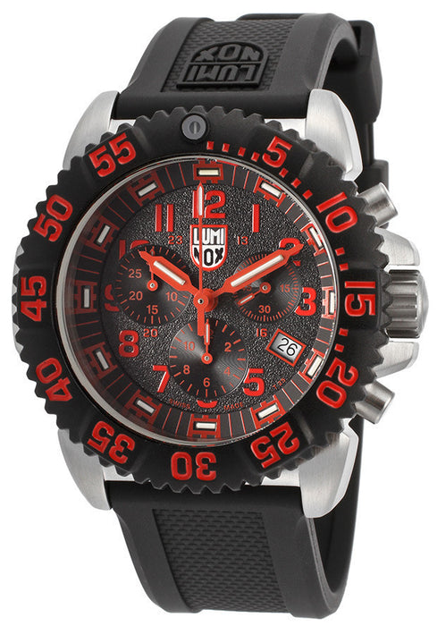 LUMINOX-3195 Men's Chronograph Black Textured Dial Black Rubber