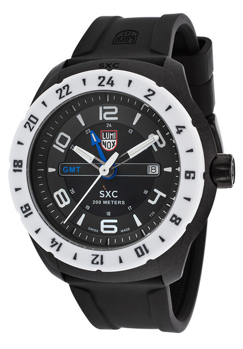 Luminox 5027 Men's Space GMT Black Silicone and Dial White Bezel
