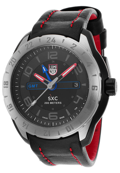 Luminox Men's SXC Space GMT Series Black Dial Black Genuine Leather Strap