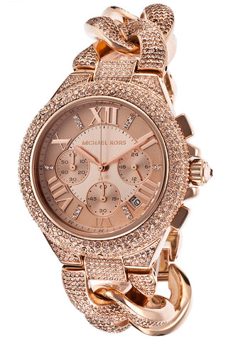 Michael Kors MK3196 Women's Camille Chronograph Rose-Tone Steel and Dial