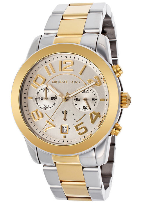 M.KORS-MK5748 Women's Chronograph Silver Dial Two Tone Stainless Steel