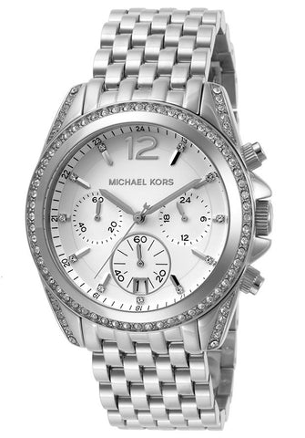 M.KORS-MK5834 Women's Pressley Chronograph White Crystals White Dial Stainless Steel