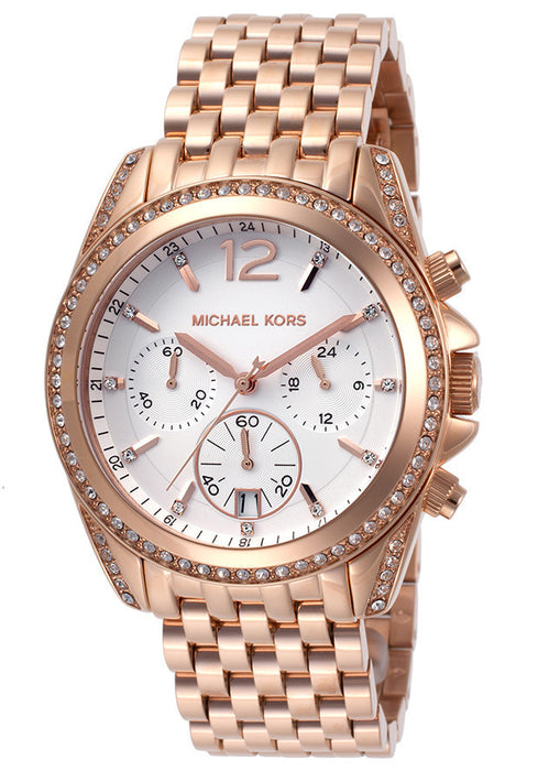 M.KORS-MK5836 Women's Pressley Chrono White Crystals White Dial Rose Gold Tone IP Stainless Steel