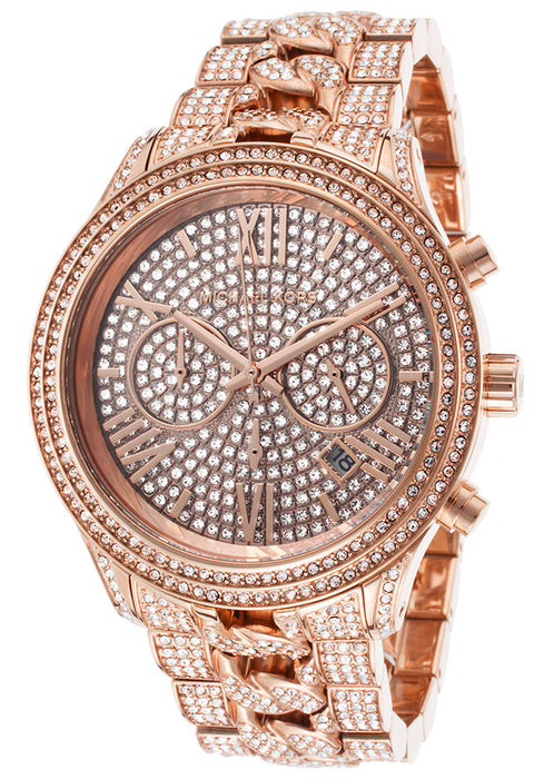 Michael Kors MK5900 Women's Lindley Chrono Rose-Tone Steel and White Crystal Encrusted