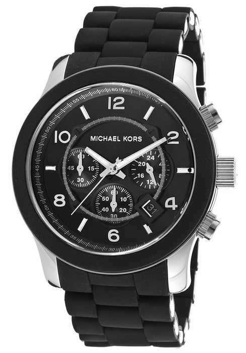 M.KORS-MK8107 Men's Chronograph Black Dial Black Polyurethane and Stainless Steel