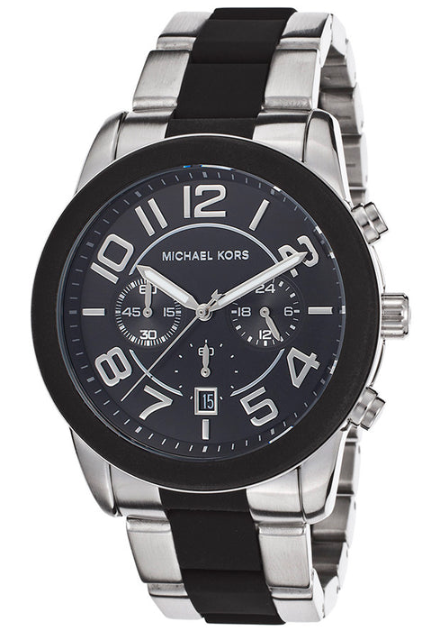 Michael Kors MK8321 Men's Chronograph Black Dial Stainless Steel & Black Rubber