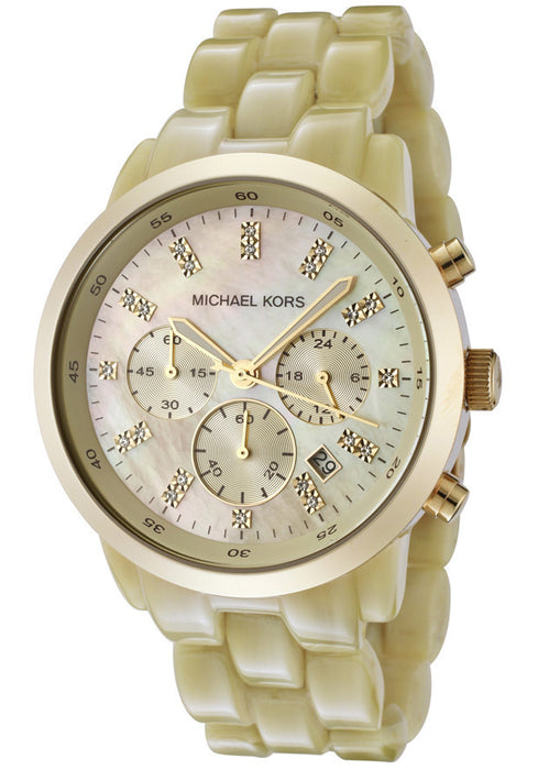 Michael Kors Women's MK5217 Oversized Horn Watch, Ivory Tone Plastic Link Quartz Chronograph Gold Tone Mother Of Pearl