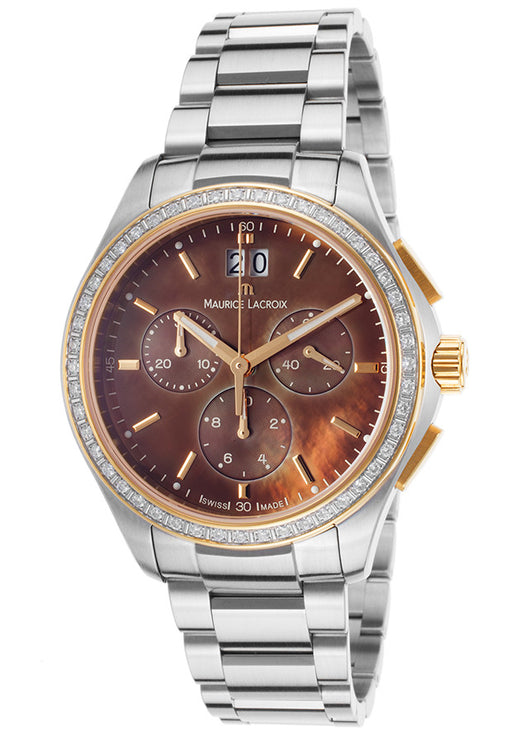 Maurice Lacroix Women's Miros Chronograph Stainless Steel Brown Mother of Pearl Dial