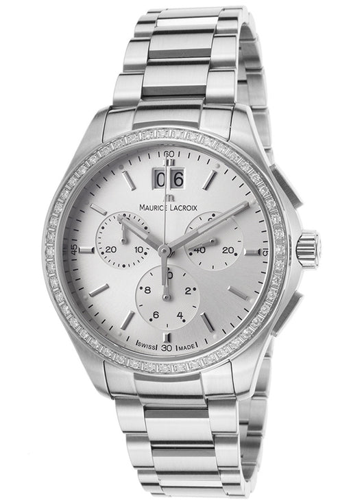 Maurice Lacroix Women's Miros Chronograph Diamond Stainless Steel Silver-Tone Dial