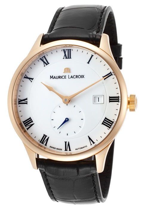 Maurice Lacroix Men's Masterpiece Automatic Black Crocodile White Dial
