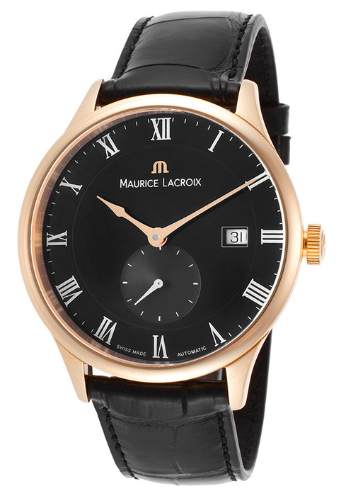 Maurice Lacroix Men's Masterpiece Automatic Black Crocodile and Dial 18K Rose Gold Case
