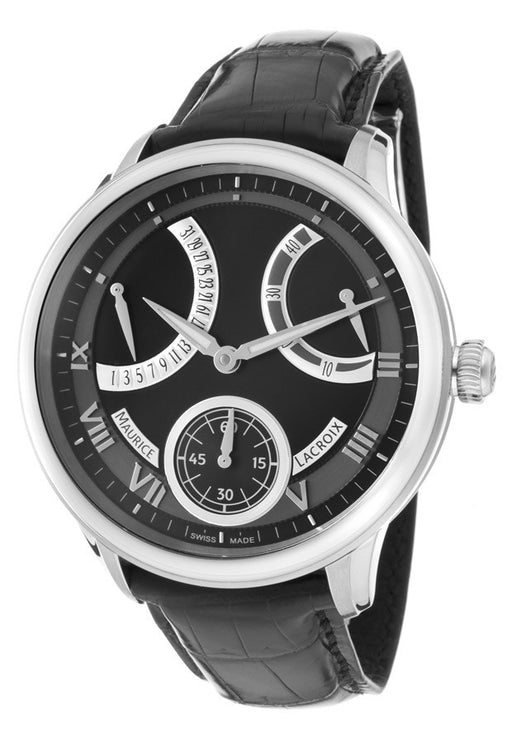 Maurice Lacroix Men's Masterpiece Mechanical Retrograde Black Dial Black Genuine Alligator