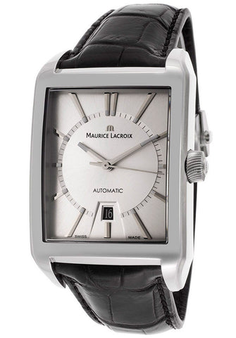 Maurice Lacroix Men's Automatic Silver Dial Black Genuine Leather PT6257-SS001-130