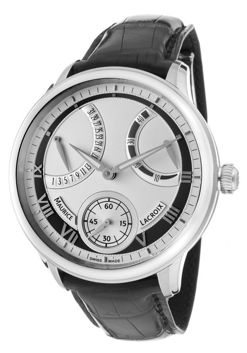 Maurice Lacroix Men's Masterpiece Mechanical Retrograde Silver Dial Black Genuine Alligator