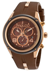 Mulco MW129902035 Women's Blue Marine Chronograph Brown Textured Dial Brown Rubber