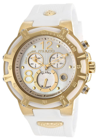 Mulco MW129903012 Women's Blue Marine Chronograph White Mother Of Pearl Dial White Rubber