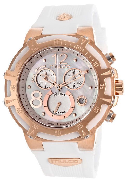 Mulco MW129903013 Women's Blue Marine Chronograph White Mother Of Pearl Dial White Rubber