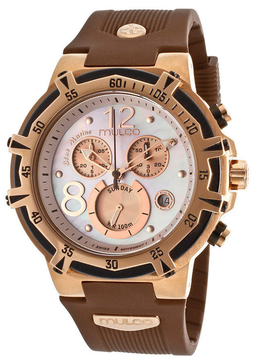 Mulco MW129903031 Women's Blue Marine Chronograph Pink Mother Of Pearl Dial Brown Rubber