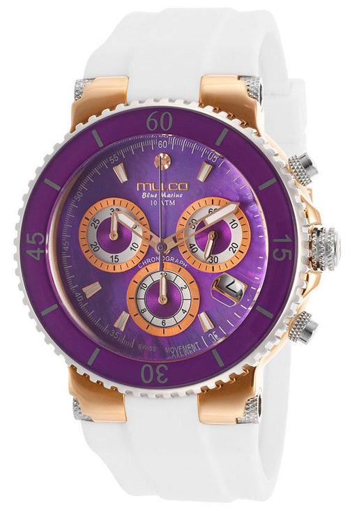 Mulco MW370604015 Women's Blue Marine Chronograph Purple Mother OF Pearl Dial White Silicone