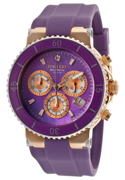 Mulco MW370604055 Women's Blue Marine Chronograph Purple Mother OF Pearl Dial Purple Silicone