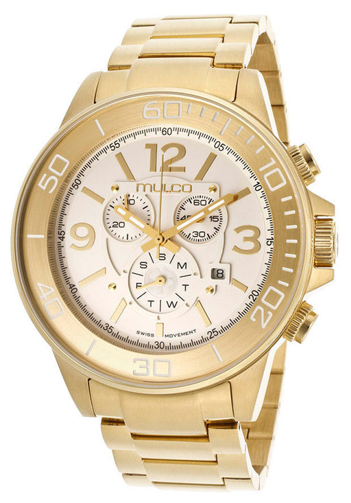 Mulco MW490147321  Men's Hierro Chronograph Silver Dial Gold Tone IP Stainless Steel