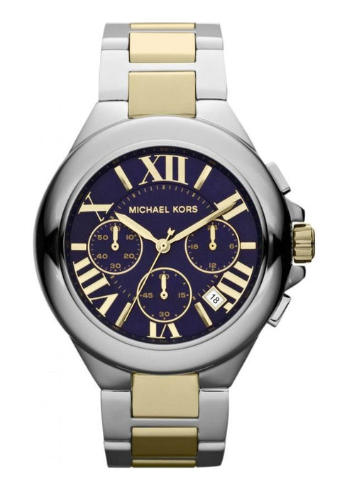 Michael Kors MK5758 Women's Camille Chronograph Blue Textured Dial Two Tone Stainless Steel