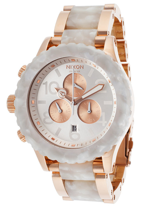 Nixon 42-20 Chrono Watch Rose Gold/White Granite, One Size