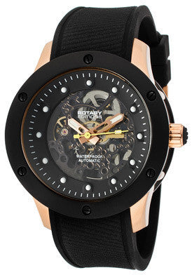 Rotary 513c Men's Editions Automatic See Thru Black Dial Two Tone IP Case Black Rubber